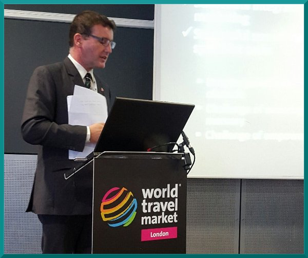 Robert Travers, speaking at WTM London.