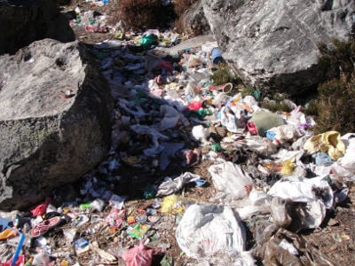 Environmental impact of tourism: there is no proper solid waste management system in Langtang.