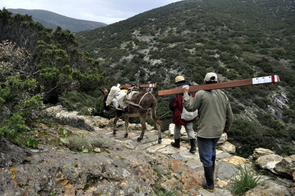 Way-marking on Sifnos island. We are carrying the sign-posts together with locals and their donkeys!
