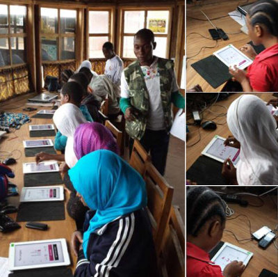 "May 2016: ""Today the first serious Tablet Class took off! Our volunteer and science student Bart instructed a local form 7 leaver how to manage the class and how to keep track of the results. The first students were really engaged!"""