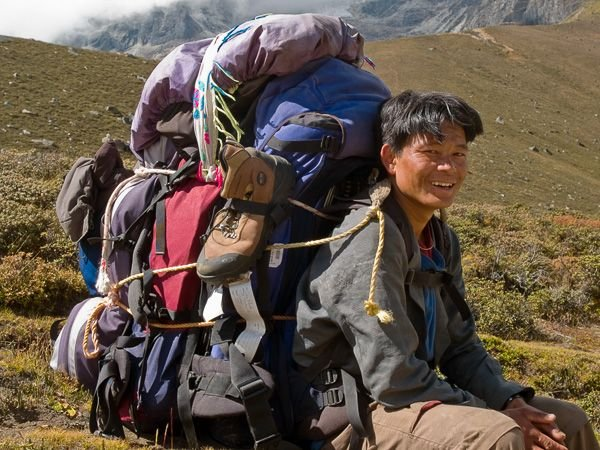 A typical heavy load for Porters
