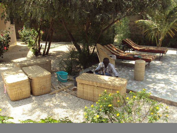 1j2: Baba, our local basket maker, comes to the lodges every season to repair our hampers, chairs, coffee tables and baskets in situ. He made all the woven furniture for us originally. We discovered him working on the beach trying to make a living selling small items to tourists.