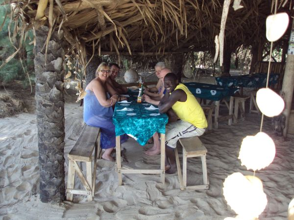 5d: Guests are taken by free transport (if they don't want to walk or cycle there) to the local beach and we always recommend that they eat 'Catch of the Day' at the beach shack restaurant. This is locally owned and run by some lovely Gambian villagers.